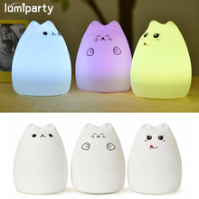 Cat Light Color Changing Silicone Cat Night Lights Bedside Lamp  Children Cute Night Lamp Christmas Bedroom Light