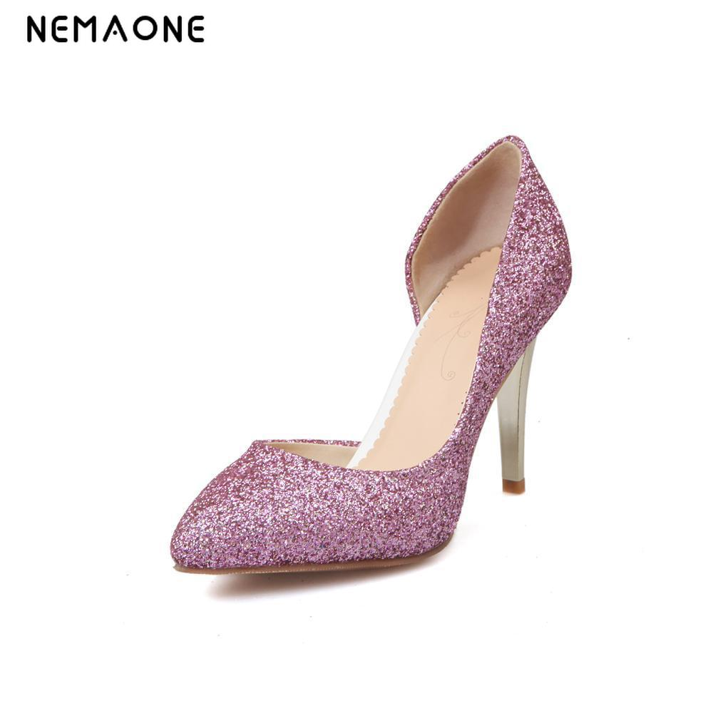 NEMAONE New Fashion Sexy Women Silver glitter Wedding Shoes big size 34-43 Platform Pumps High Heels Crystal Shoes free shipping phyanic bling glitter high heels 2017 silver wedding shoes woman summer platform women sandals sexy casual pumps phy4901