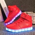 2017 muchachas de los muchachos 7 led de colores casual shoes altos tops ocio partido chaussure de simulación niños usb luces de moda para niños