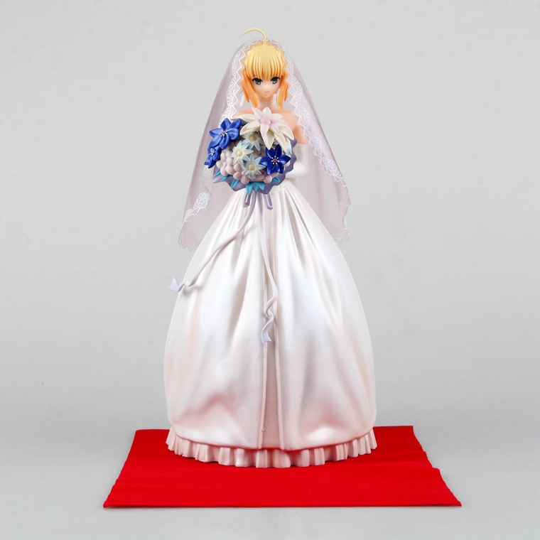 Anime Fate Stay Night Figure Juguetes Saber Lily 10th Anniversary Wedding Dress Regal Robes Brinquedos PVC Action Figure 25cm