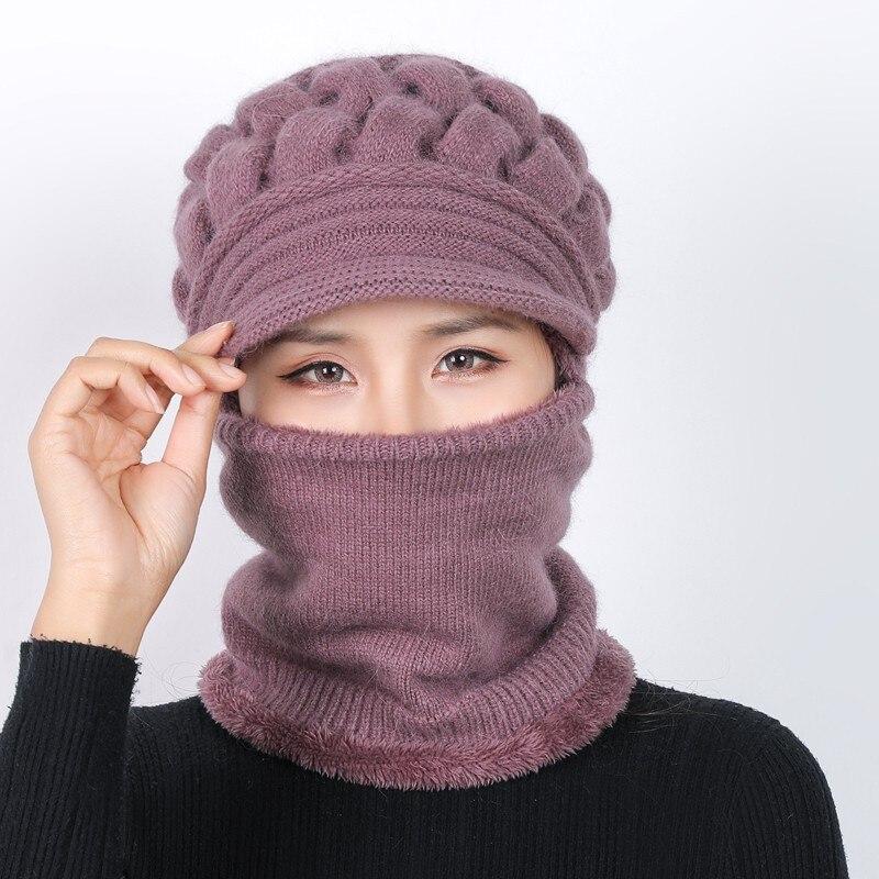 Winter Hats   Skullies     Beanies   Hat Winter   Beanies   For Women Wool Scarf Caps Balaclava Mask Gorras Bonnet Knitted Hat Mother's Gift