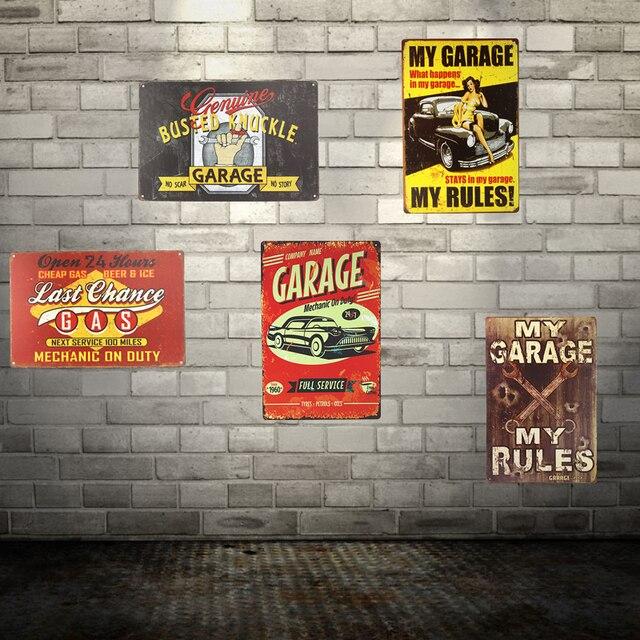 Vintage Tin Metal Signs Garage Poster Metal Poster Bedroom Bar Club Garage  Gallery Home Wall Decor