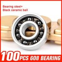 100pcs 608 Bearing Ceramic Ball Bearings For Speed Inline Roller Skating Metal Fingertips Gyro Hand Spinner