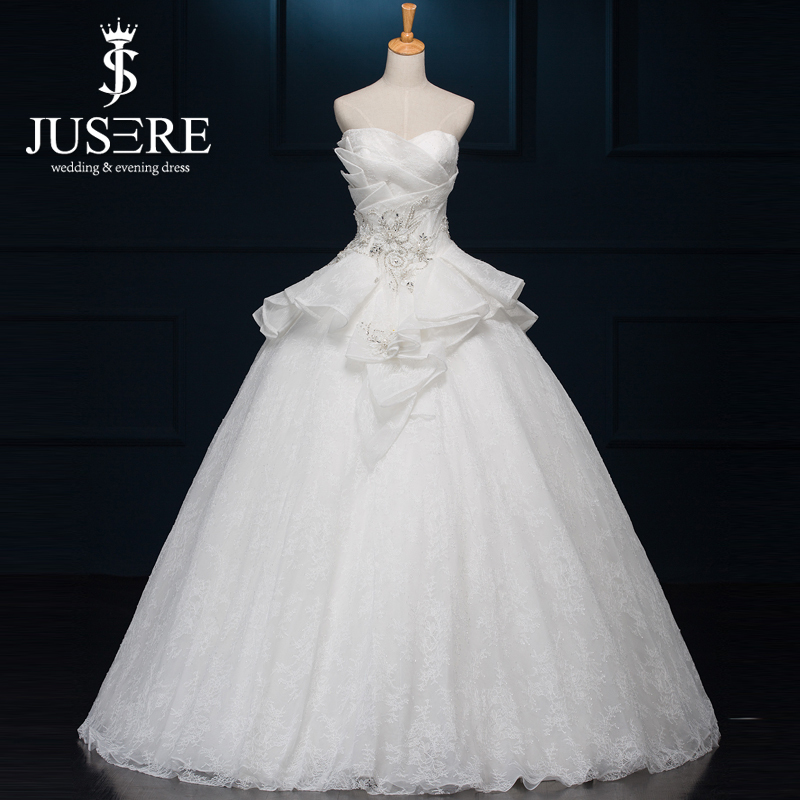 Special Design Unique New Bridal Gown Off Shoulder Sweetheart Neck Ruffle Peplum Puffy Ball Gown Tiered Lace Wedding Dress 2016