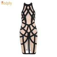 New Arrivals Women Sexy Rayon Stretchy Elastic Mesh Sleeveless Backless Halter Celebrity Party Bandage Dress Dropship
