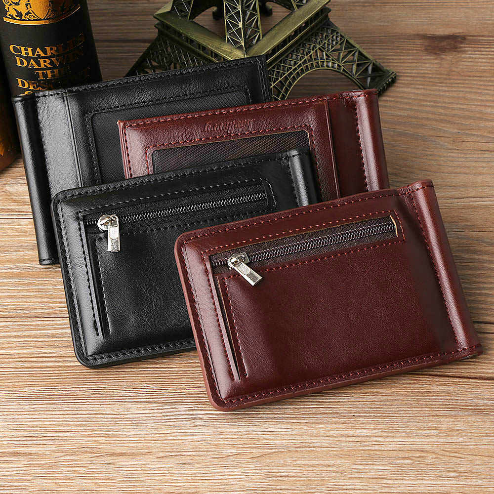 1Pcs Men Business Leather Wallet Solid Thin Magnet Hasp Bifold Fashion Purse Money Clip Coin Pocket Men Money Clip Mens Gifts