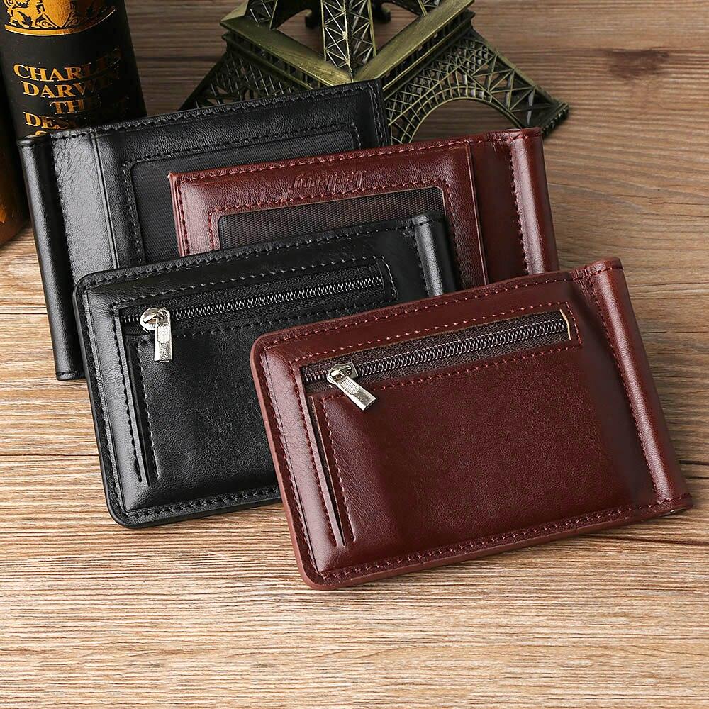 1PC Men Business Leather Credit Card Wallet Magnet Hasp Bifold Fashion Purse Money Clip Coin Pocket Men Money Clip 2020