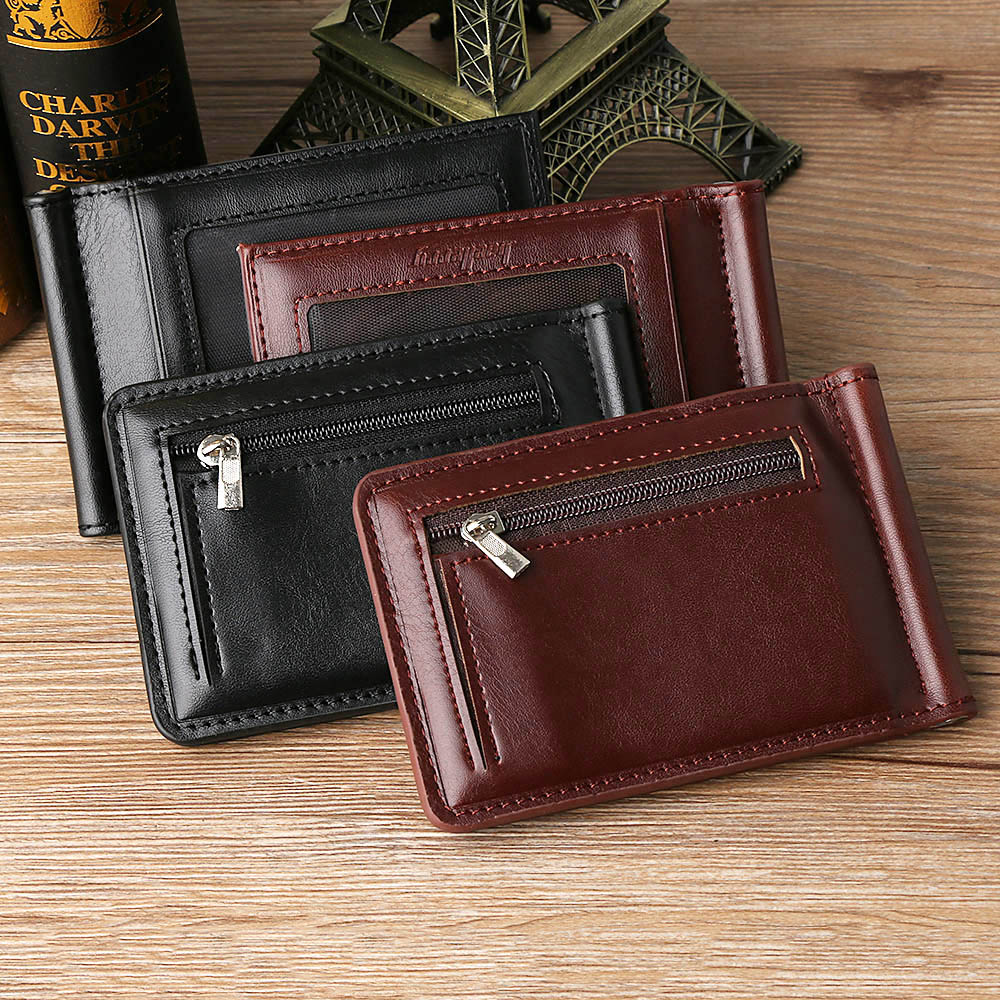 1PC New Men Business Leather Wallet Solid Thin Magnet Hasp Bifold Fashion Purse Money Clip Coin Pocket Men Money Clip 2020