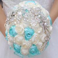 20cm Europe TIff Pearl Rhinestone Artificial Rose Bridal Flower Bouquet Ideas Wedding Decor Ivory Blue Purple F1475