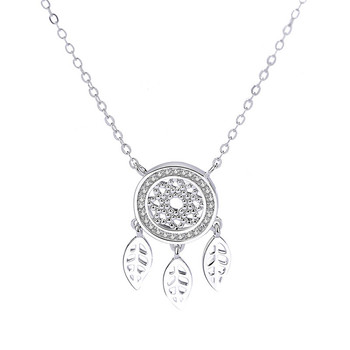 925 Sterling silver Girl Necklace Vintage Korea Dream Catcher Leaves Pendant Necklace Jewelry for Women Mother's Day gift#EW50 image