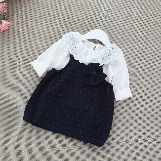 2016 весной новорожденных девочек одежда устанавливает осень зима костюм младенца симпатичные футболки + горошек Ремень платье 2 шт. хлопок одежда новорожденного наборы