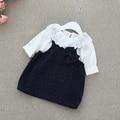 2016 primavera do bebê meninas conjuntos de roupas de outono inverno bebê terno camisa bonito de t + polka dot vestido de Alça 2 pcs roupas de algodão recém-nascidos conjuntos