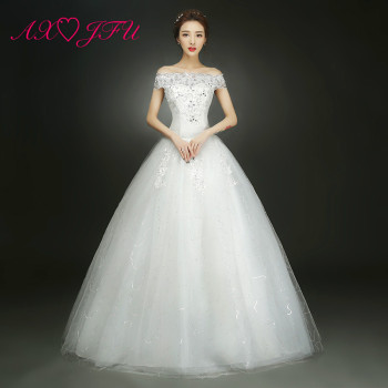 AXJFU white flower lace beading wedding Dress luxury princess beading boat neck golden turkey red bride party wedding dress