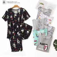 Shuchan Summer Pijama For Women Cotton Tops With Short Sleeve+calf length Pants Sleepwear Everyday Plus Size Suit Women Gray