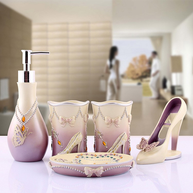 High Heels 5pcs Bathroom Accessories Set Modern Toothbrush Holder Lady Bath Sets Soap Lotion Dispenser