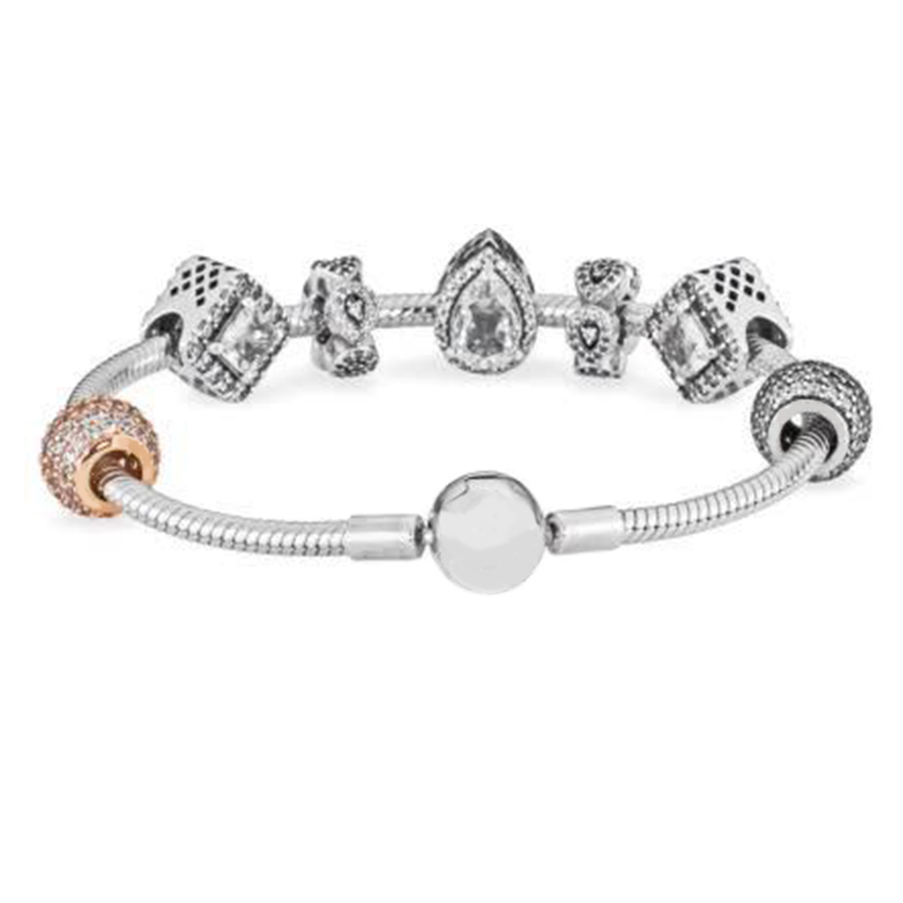 ROBOL Style European Fashion 925 Classic Silver Charm Bracelet With Glass Beads Bracelets for Women Original DIY Jewelry Gift guess ремень