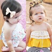 Милый кружевной хлопковый детский летний жилет без бретелек для новорожденных девочек, блузки, одежда, наряд США