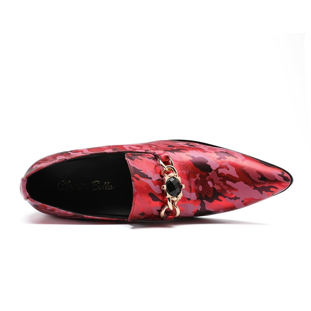 Genuíno Grande Bella Moda De Se Dedo Camuflagem Formal Sapatos Vermelho Tamanho Designer Couro Pontas Vestem Do Partido Christia Pé Mocassins Homens BwxqPHP