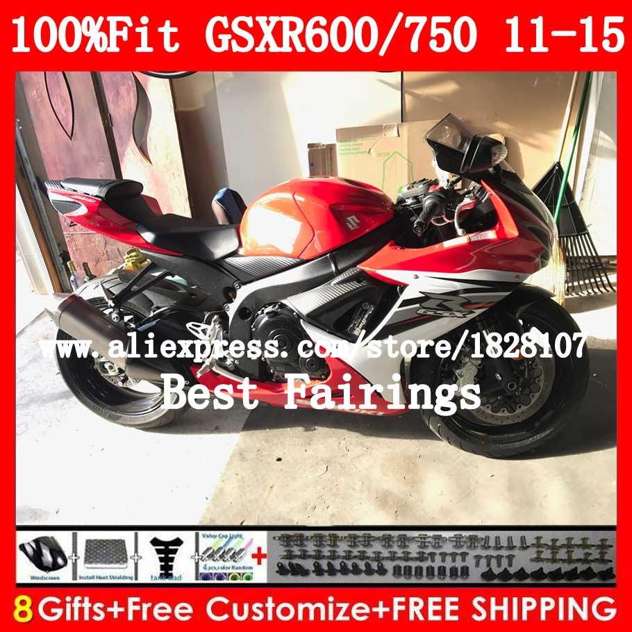 Fairing Untuk SUZUKI GSXR600 GSXR750 2011 2012 2013 2014 2015 8B0 Merah putih K11 GSX-R750 GSXR 600 750 11 12 13 14 15 Stock merah kit