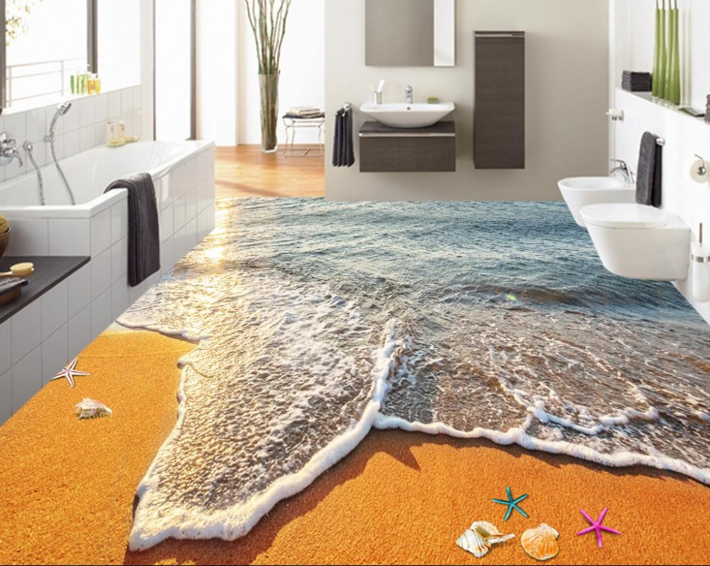 ФОТО 3D floor beach europa custom 3d stereoscopic floor mural waterproof self-adhesive murals 3d pvc floor