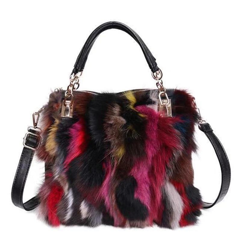 Bagaj ve Çantalar'ten Omuz Çantaları'de Moda tasarım deri kürk yumuşak gerçek deri kadın çanta iki adet kadın omuzdan askili çanta kızlar askılı çanta rahat kadın çantası'da  Grup 1