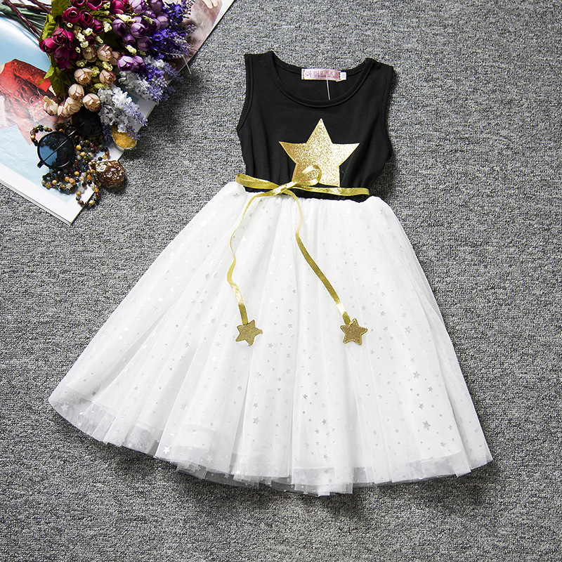 U-SWEAR 2019 New Arrival Kid   Flower     Girl     Dresses   Sleeveless O-neck Flash Star Print Sashes Chiffon Pageant   Dresses   Vestidos