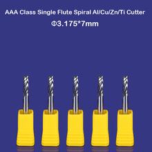 """CNC router China wholesale tools single flute spiral bits mill aluminum cutting bit 7mm 1/8"""""""