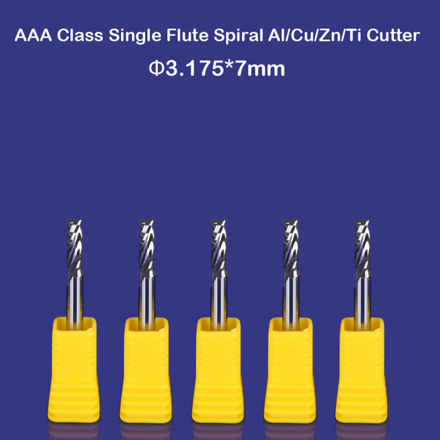 CNC router China wholesale tools single flute spiral bits mill aluminum cutting bit 7mm 1/8""