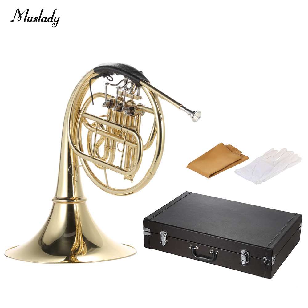 Muslady B/Bb Flat  French Horn 3 Key Brass Gold Lacquer Single-Row Split Wind Instrument with Cupronickel Mouthpiece Case sousaphone