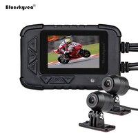 Blueskysea Видеорегистраторы для мотоциклов DV688 Байкер действие Камера двойной 1080 P Ночное видение