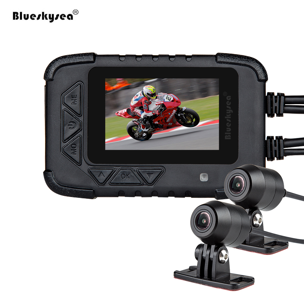 Blueskysea Motorcycle DVR DV688 Biker Action Camera Dual 1080P Night Vision