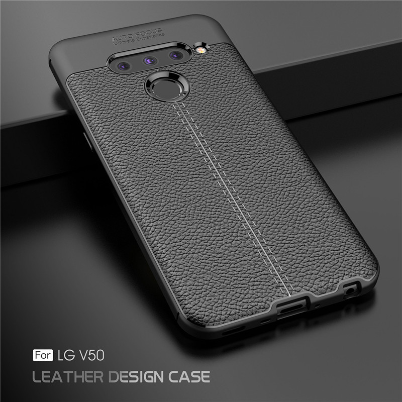 Cover For LG V50 Case Shockproof PU Luxury Rubber Soft Silicone Phone Back