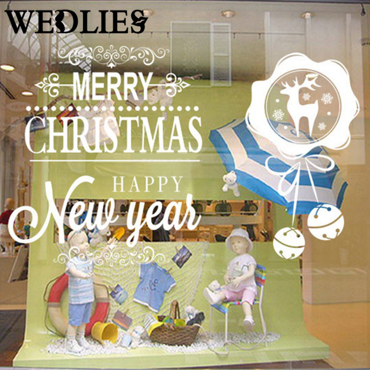 Christmas Wall Stickers Window Mural PVC Removable Wall Paper Xmas ...