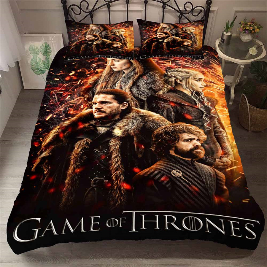 HELENGILI 3D Bedding Set Game Of Thrones Print Duvet Cover Set Bedcloth With Pillowcase Bed Set Home Textiles #GOT-27