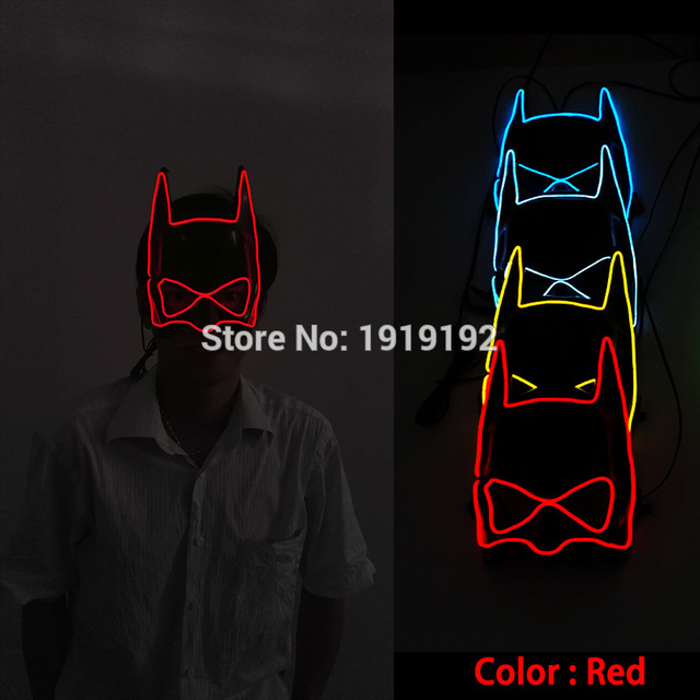 Sound activated glowing EL wire Masks Halloween LED Mask luminous ...