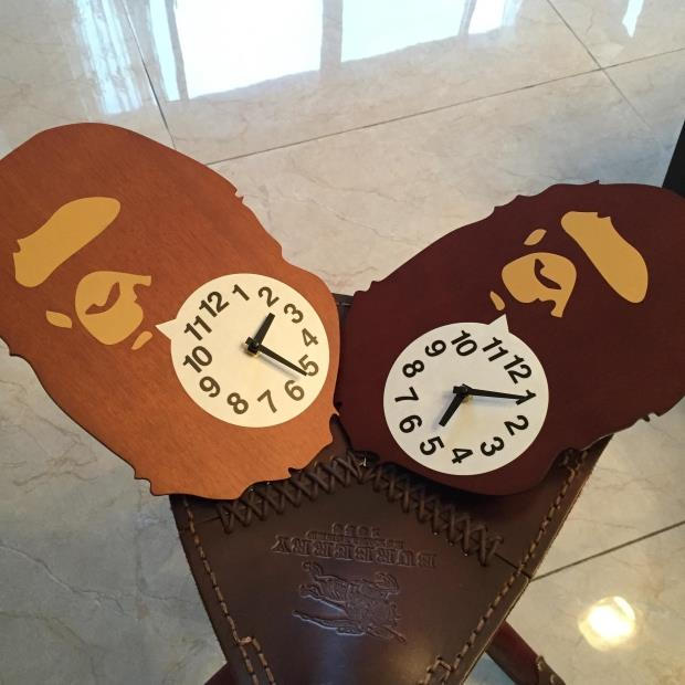 Wood (J njgra)Bape Creative Wall Clock, Two Color Optional - TZHB INTERANTIOAL LTD store