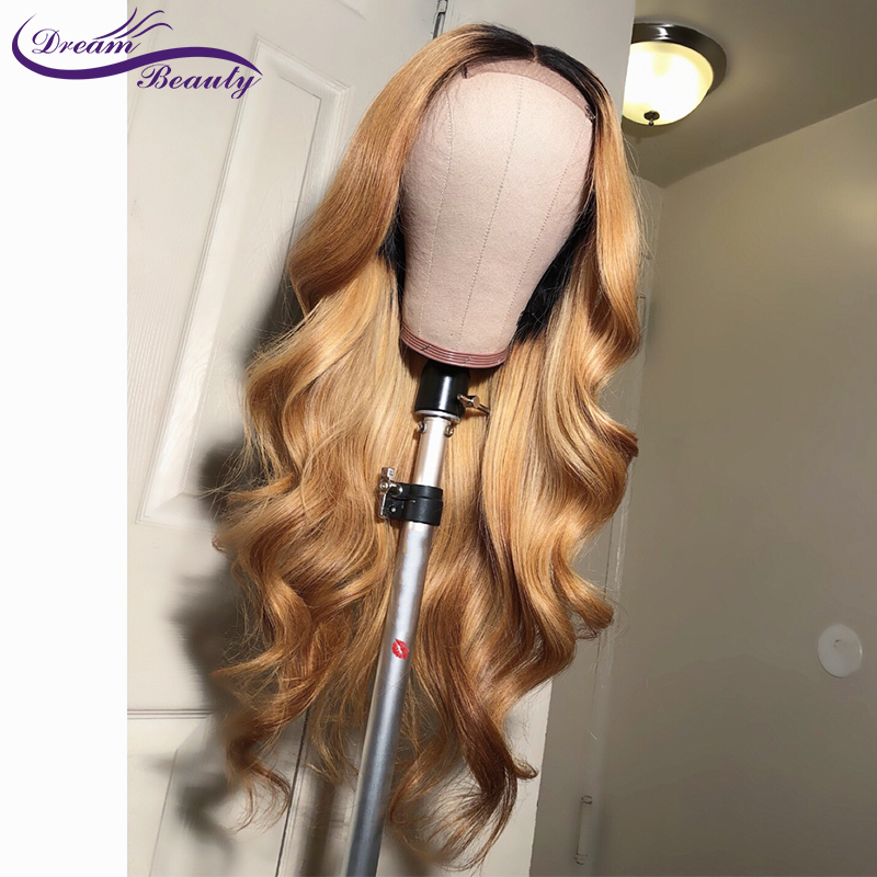 Dream Beauty Body Wave Ombre 27 Color long deep part 13x6 Front lace wig Remy Hair Brazilian Human Hair Wigs With Baby Hair