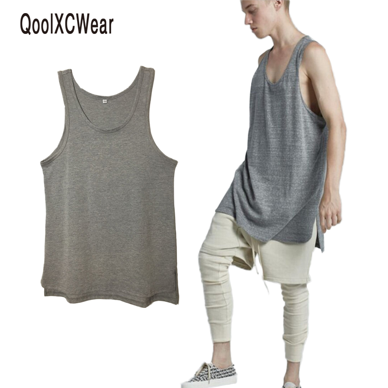 new hip hop clothes pure color loose vest men streetwear bottom fashion casual   tank     top   brand design low cut   tops