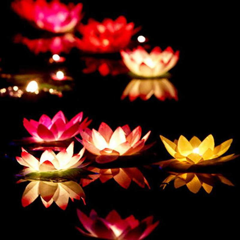 10pcs Multicolor Wishing Floating Lotus Lamps With Candle Flower Water Lantern For Baby Showers