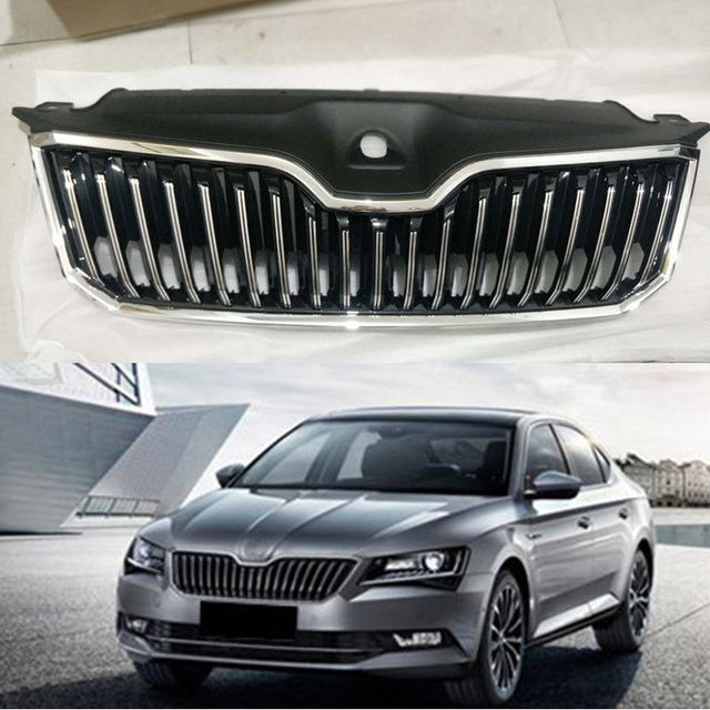 Car Front Grilles Grill Trim Overlay Replace Cover For Skoda Superb