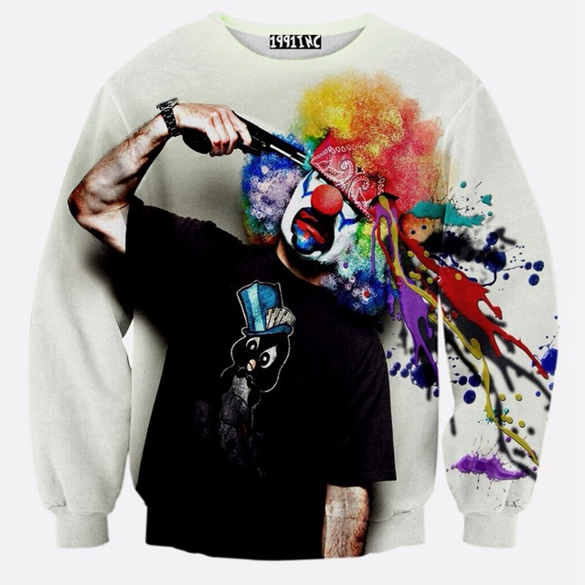 Autumn/winter new sweatshirt men's fashion 3D sweatshirt novelty gun clown printing sudaderas Men hoodies pullovers Sweatshirts