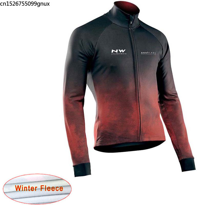 NW 2019 New Fleece Thermal Cycling jersey Bike Long sleeve Sportswear Racing cycling clothing Maillot Ropa Ciclismo Hombre C28(China)