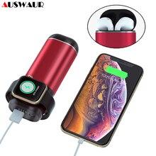 5200 mah 전원 은행 무선 충전기 airpods 애플 시계 시리즈 iwatch 1 2 3 4 외부 배터리 충전기 아이폰 삼성