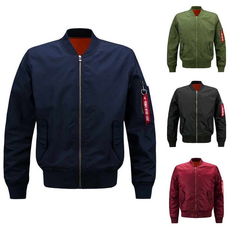 MoneRffi 2019 Men Autumn Winter Jacket Fashion Motercycle Pilot Bomber Jackets Zipper Pocket Men Oversize Outwear Streetwear(China)