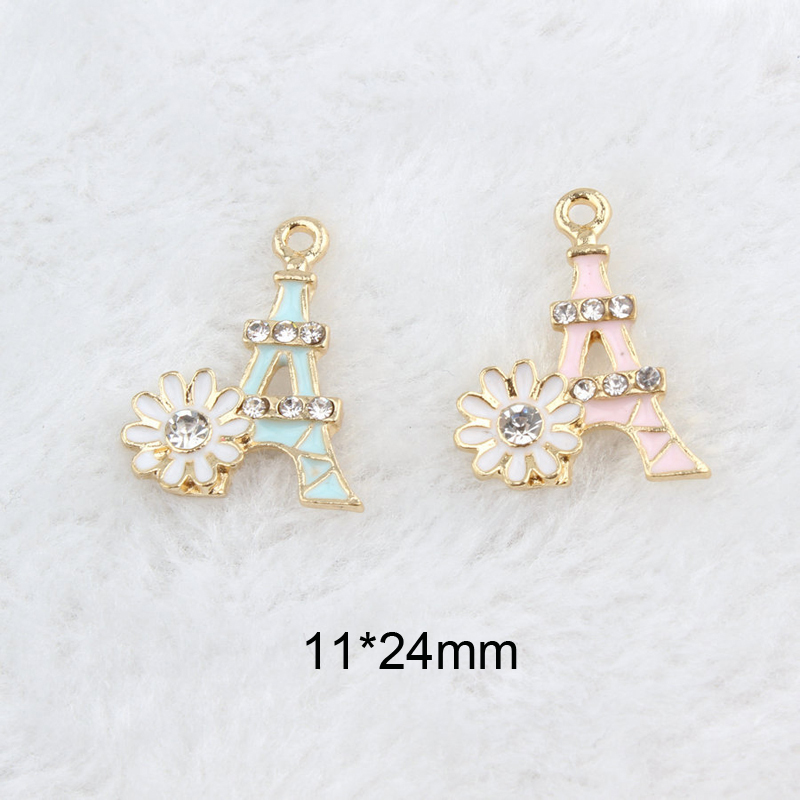 10pcs Bag Flower Rhinestone Eiffel Tower Enamel Charms Bracelets Making Alloy Pendant For Jewelry DIY Accessories Craft YZ074 in Charms from Jewelry Accessories