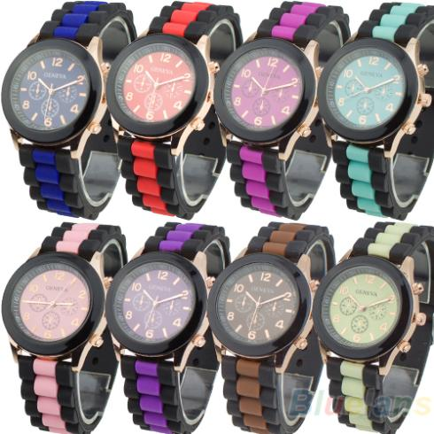 8 Colors Women's Brand Geneva Silicone Band Jelly Gel Quartz Analog Sports Wrist Watch 2013 New Fashion 0JXO 2017 new fashion women geneva silicone rubber jelly gel quartz analog sports wrist watch 0vjs