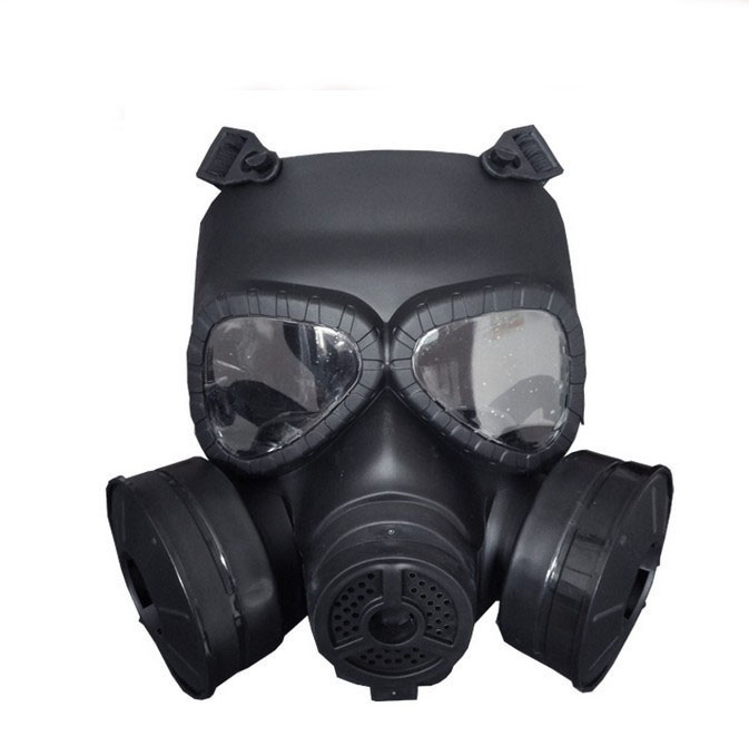 Double irrigation built-in fan gas mask outdoor field protective mask tactical face tactical skull face mask military field us active duty m50 gas mask cs field skull mask for hunting paintball