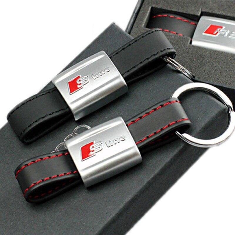1 шт. средством Car Авто Стикеры черный, красный линии Кожа Спорт SLine для Audi 3 A4 A5 A6 A8 TT RS q5 Q7 S линии брелок