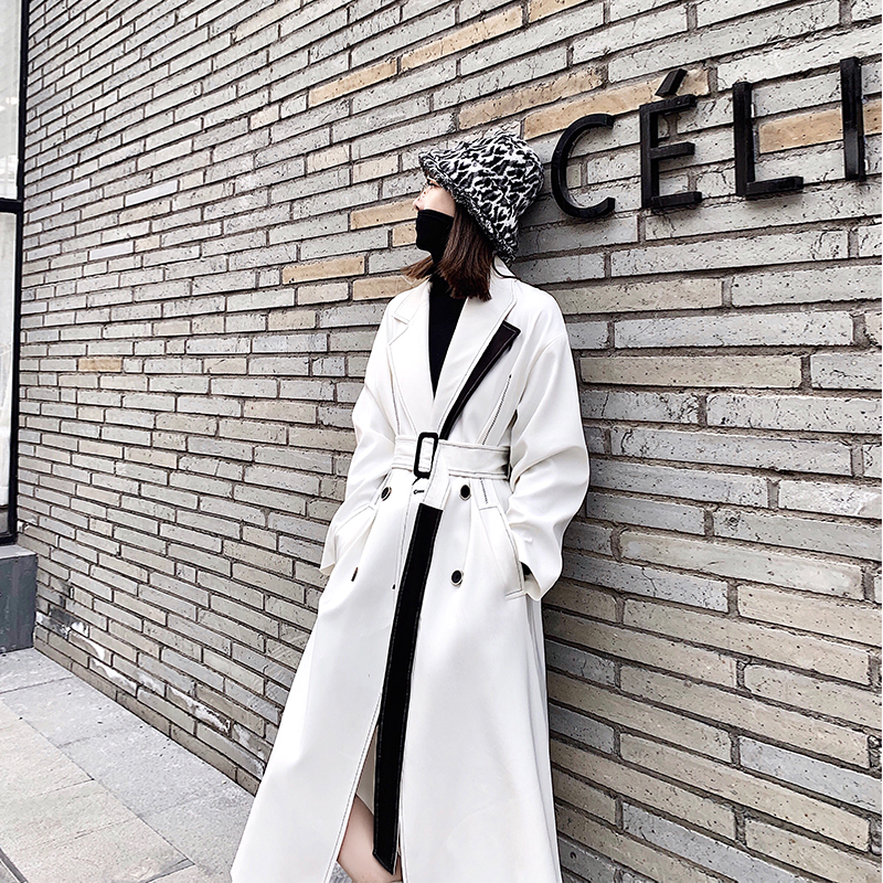 High Quality White Black Patchwork Windbreaker Women 2019 Autumn Winter New Korean Fashion Slim Long Warm   Trench   Coat for Ladies
