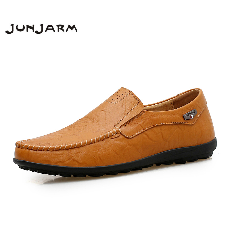 JUNJARM 2017 Handmade Mens Loafers Split Leather Men Driving Shoes Breathable Casual Mens Moccasins Shoes Plus Size 38-46